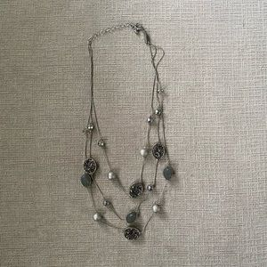 NY&Co three layer black and silver necklace